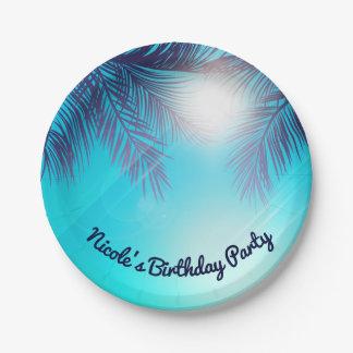 De blauwe Verjaardag van de Zomer van de Palmen Papieren Bordje