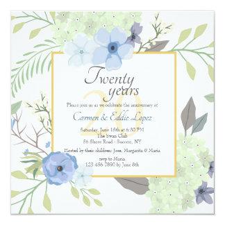 De blauwe Vierkante Uitnodiging van Bloemen