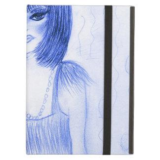 De blauwe Vin van het Meisje van de Partij iPad Air Hoesje