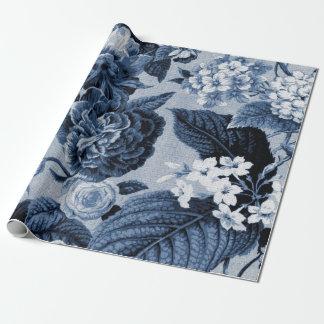 De Blauwe Vintage BloemenToile Stof van de indigo Inpakpapier