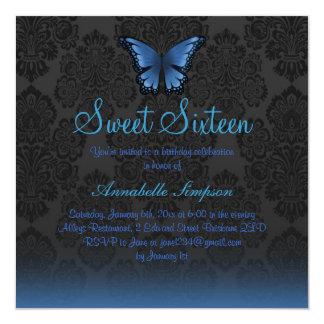 De blauwe Vlinder & het Damast Sweet16 nodigen uit 13,3x13,3 Vierkante Uitnodiging Kaart