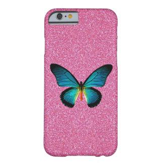 De blauwe Vlinder op Roze schittert iPhone 6 Barely There iPhone 6 Hoesje