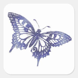De blauwe Vlinder van het Gebrandschilderd glas Vierkante Sticker