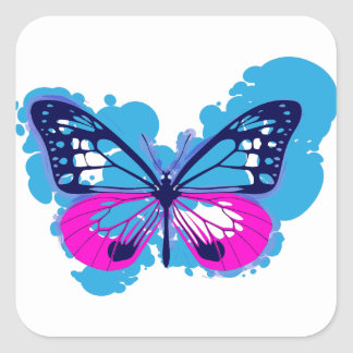 De Blauwe Vlinder van het pop-art Vierkante Sticker