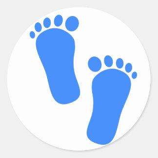 De blauwe Voetafdrukken van het Baby Ronde Sticker