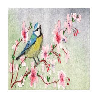De blauwe Vogel van de Mees op de Boom Watercolour Canvas Print