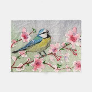 De blauwe Vogel van de Mees op de Boom Watercolour Fleece Deken