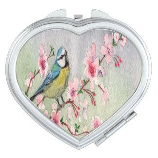 De blauwe Vogel van de Mees op de Boom Watercolour Make-up Spiegel