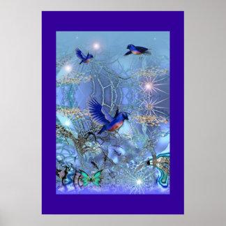 De Blauwe Vogels van de Kunst van de Fantasie van Poster