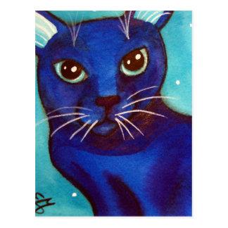 De blauwe Volle maan van de Kat Briefkaart