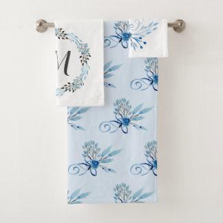 De Blauwe Waterverf van het land Bloemen Bad Handdoek