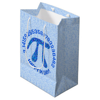 De blauwe Wiskunde Geek van het Symbool van Pi Medium Cadeauzakje