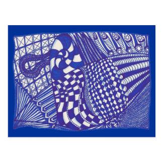 De blauwe witte abstracte tekening van Zentangle, Wenskaart