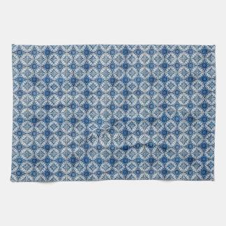 De blauwe & Witte Geometrische Theedoeken van de