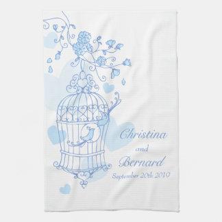De blauwe witte handdoek van de de