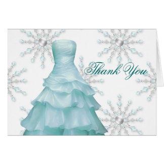 De blauwe Witte Sneeuwvlokken Quinceanera danken u Kaart