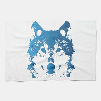 De Blauwe Wolf van het Ijs van de illustratie Theedoek