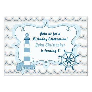 De blauwe ZeevaartUitnodiging van de Verjaardag Kaart