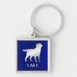 De Blauwe Zilveren Labrador van het monogram Sleutelhanger
