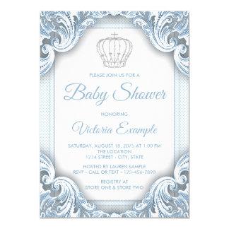 De blauwe Zilveren Uitnodigingen van het Baby