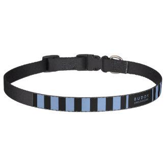 De Blauwe & Zwarte Strepen van de halsband - Naam Honden Halsband