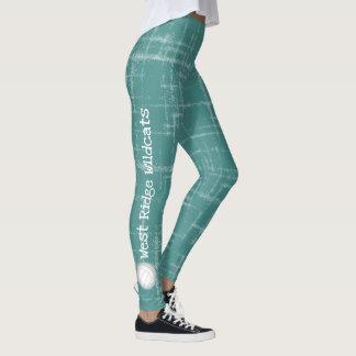 de blauwgroen beenkappen van verticale de leggings