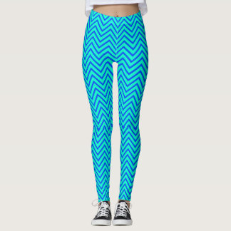 De blauwgroen Blauwe Beenkappen van de Zigzag Leggings