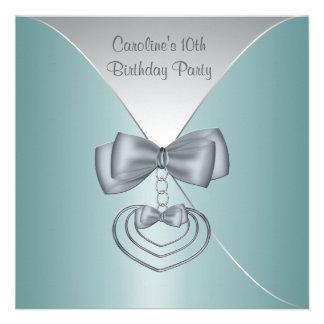 De blauwgroen Blauwe Partij van de Verjaardag van Uitnodiging