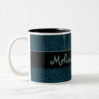 De blauwgroen Druk van de Jachtluipaard met Zwarte Tweekleurige Koffiemok