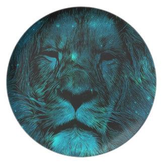 De blauwgroen Druk van de Leeuw van de Melkweg Melamine+bord