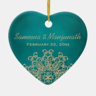 De blauwgroen en Gouden Indische Gunst van de Part Keramisch Hart Ornament