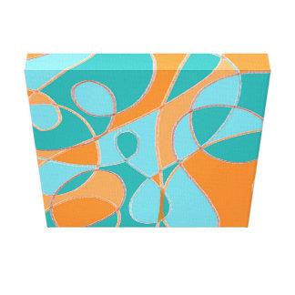 De blauwgroen en Oranje Samenvatting van de Lijn Canvas Afdruk