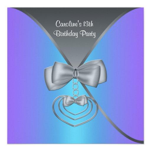 De blauwgroen Paarse 13de Elegante Uitnodiging van