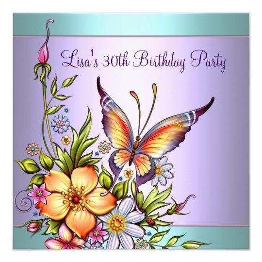 De Blauwgroen Paarse 30ste Verjaardag Van De Vrouw Kaart Zazzle Nl