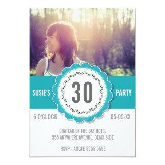 De blauwgroen Partij van de Verjaardag van de Foto Custom Uitnodging