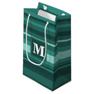 De blauwgroen strepen van het monogram klein cadeauzakje