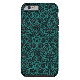 De Blauwgroen Zwarte van het damast Tough iPhone 6 Hoesje
