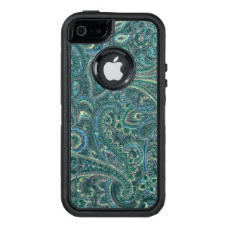 De blauwgroene & Beige Vintage Textuur van de Stof OtterBox Defender iPhone Hoesje