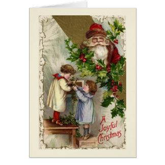 De Blije Kerstkaart van de vintage Kerstman Briefkaarten 0