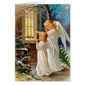 De blije Kerstkaart van Engelen Wenskaart