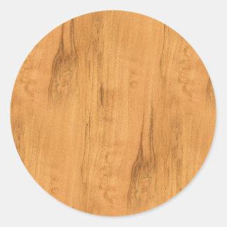 De blik van Textuur van de Korrel van de Esdoorn Ronde Sticker
