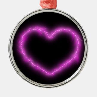 De Bliksem van het hart Zilverkleurig Rond Ornament