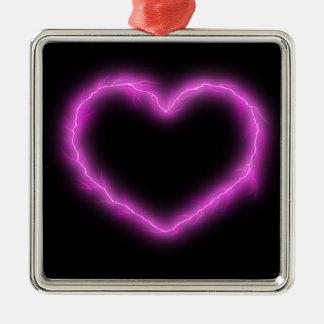 De Bliksem van het hart Zilverkleurig Vierkant Ornament