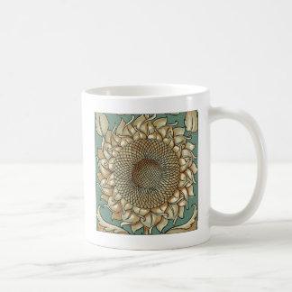De Bloei van de zonnebloem op Blauwgroene Koffiemok