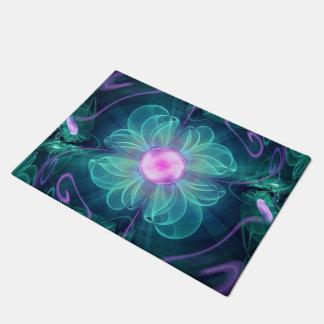 De bloei van Enigma, een aqua-Viooltje Fractal Deurmat