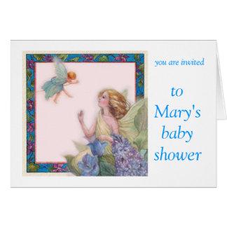 de bloem Fee personaliseert baby showeruitnodiging Wenskaart