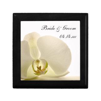 De Bloem van de orchidee op Wit Huwelijk Vierkant Opbergdoosje Small