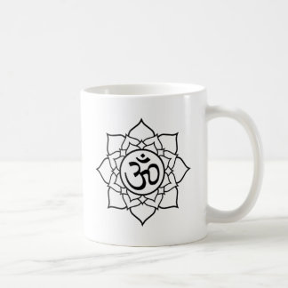 De Bloem van Lotus, Zwart met Witte Achtergrond Koffiemok