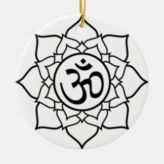 De Bloem van Lotus, Zwart met Witte Achtergrond Rond Keramisch Ornament