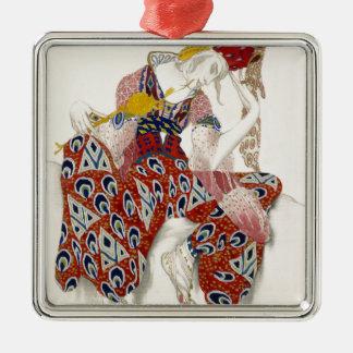 De bloem van Onsterfelijkheid - Dans Zilverkleurig Vierkant Ornament